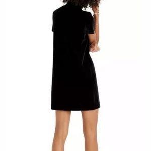 Madewell Dresses - MADEWELL TRUE BLACK VELVET MOCKNECK SHIFT DRESS L